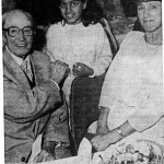 One of the church's founders Mr Charles Bidwell and his daughterGrace with one of the youngest members Radhika Srinivasan