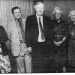 The Rev Reginald Walker, Minister of Stoneleigh Methodist from 1950 to 1954, with members and friends of the church at the big supper date
